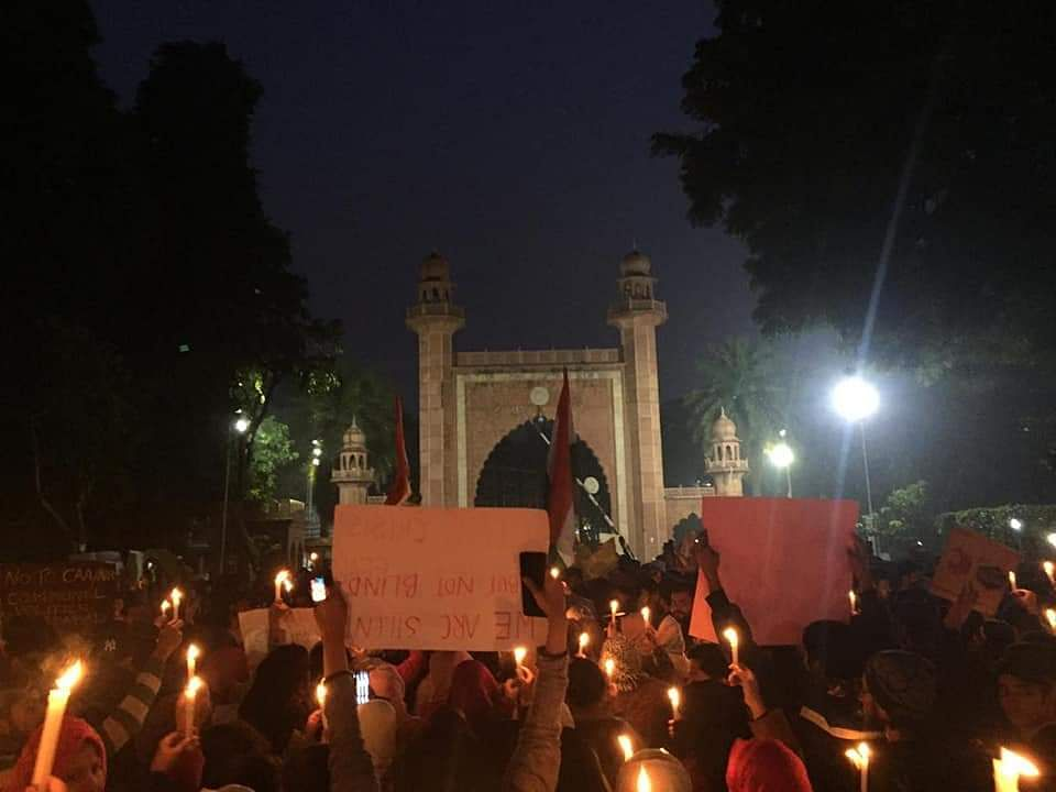 Protest led by non-resident students of AMU.
