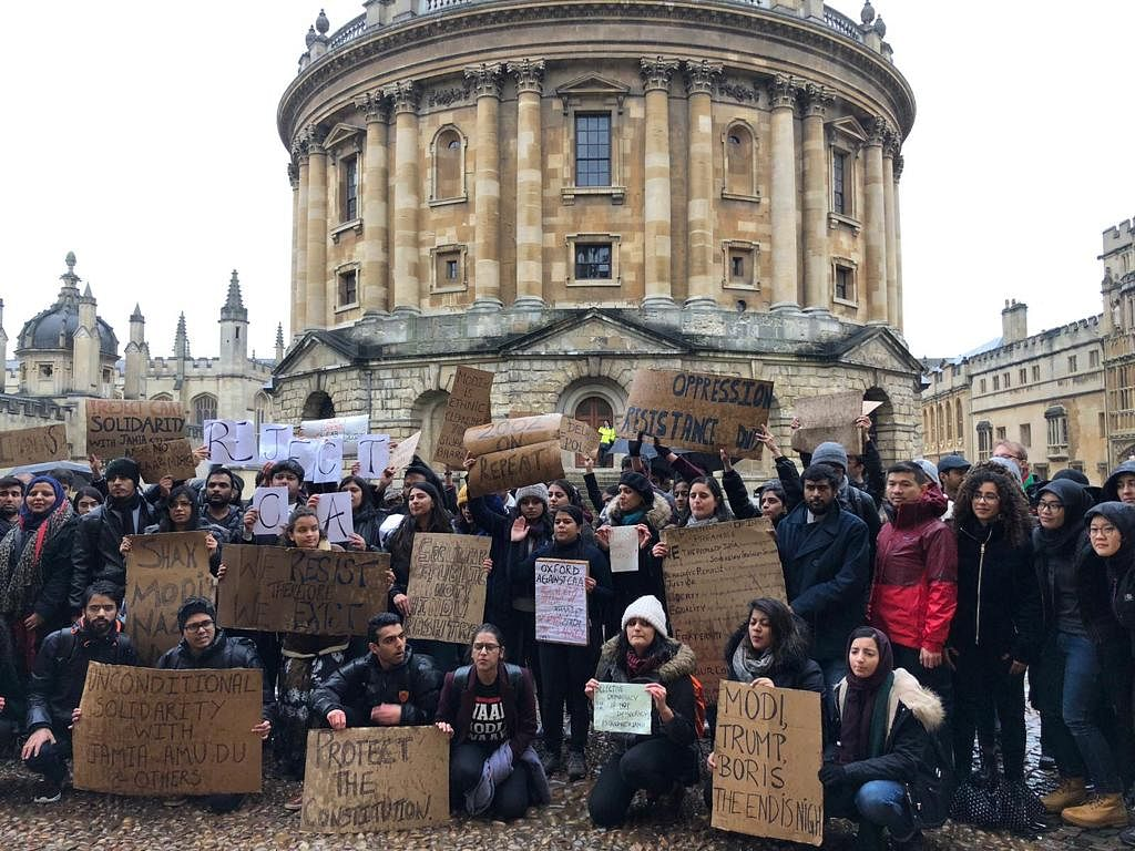 Students protest against CAA at Oxford.