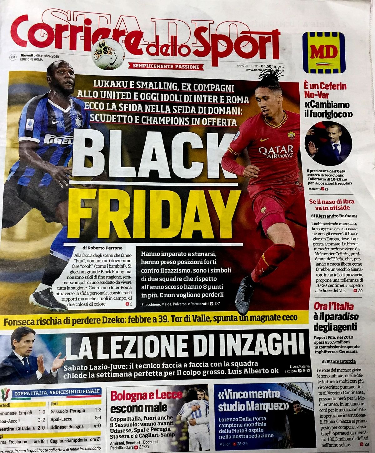 Italian Sports Daily Banned By Teams For 'Black Friday' Headline