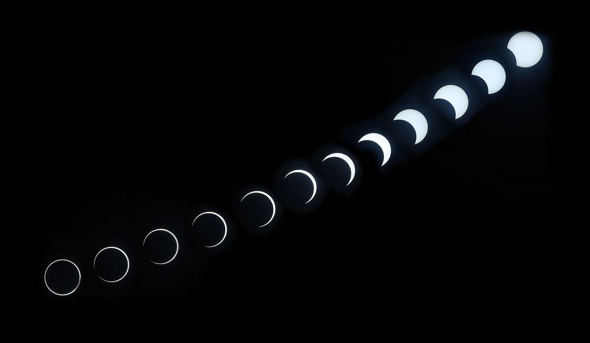 Various phases of the annular eclipse as seen from Purameri near Vadakara in Kozhikode on Thursday, 26 December.