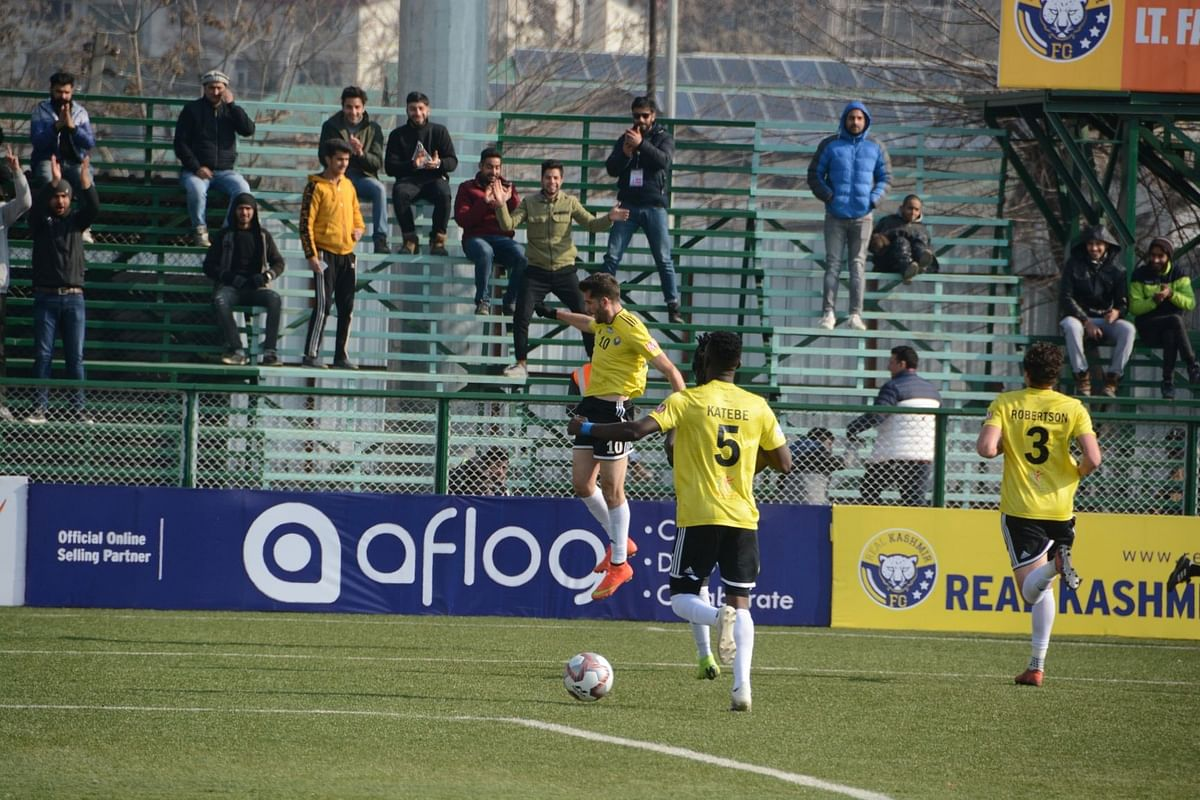 Srinagar: Players in action during the Hero I-League match between Real Kashmir FC and Chennai City FC at the TRC Ground in Srinagar on Dec 26, 2019.