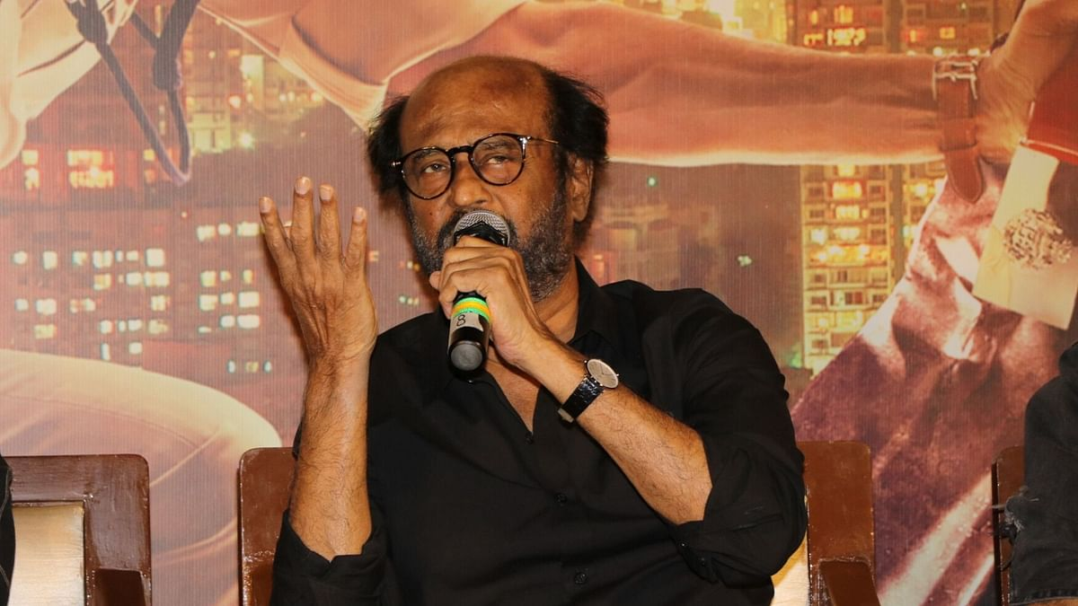 Actor Rajinikanth with his WMD; the mic.