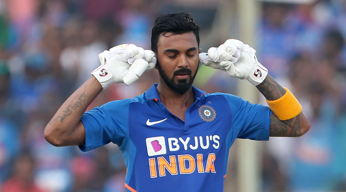 India's KL Rahul celebrates scoring a century during the second one day international cricket match between India and West Indies in Visakhapatnam, India, Wednesday, Dec. 18, 2019.