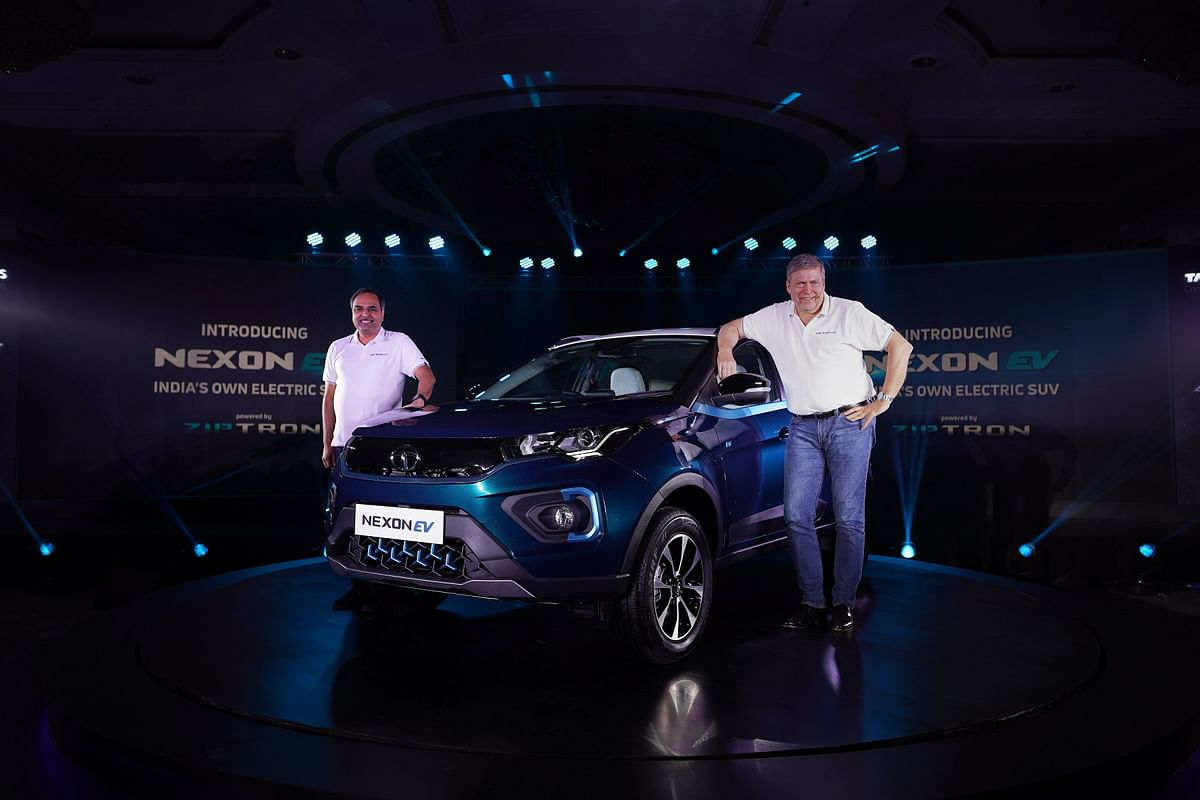 Guenter Butschek, CEO and MD, Tata Motors with the Tata Nexon EV.