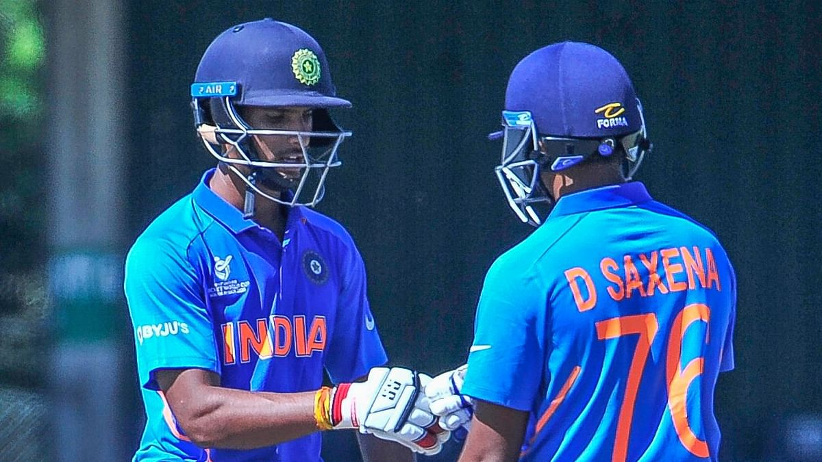 N Tilak Varma (left) and DIvyaansh Saxena stitched a 127-run opening stand to cement India U-19's chase against South Africa U-19 on Thursday.