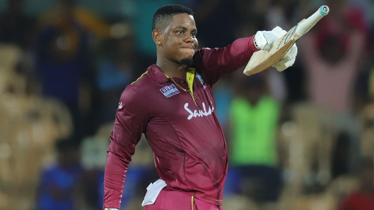 Shimron Hetmyer of West Indies celebrates his fifty during the 1st One Day International match  between India and the West Indies held at the M. A. Chidambaram Stadium, Chennai on Sunday, 15 December.
