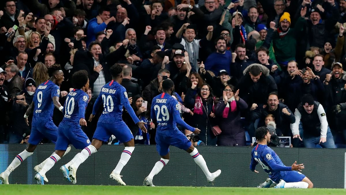 Chelsea celebrate a goal headed in by defender Reece James.