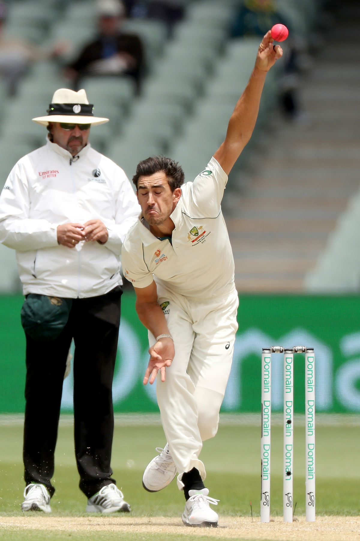 Australia's Mitchell Starc bowls during their cricket Test match against Pakistan in Adelaide.