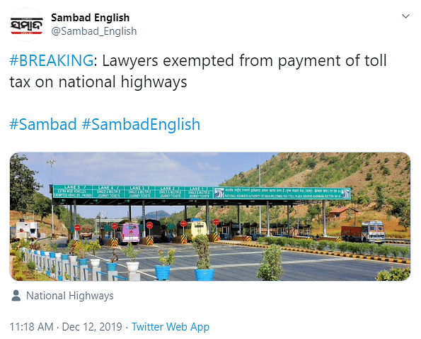 NHAI Exempting Lawyers From Paying Toll Tax? Letter is Fake!
