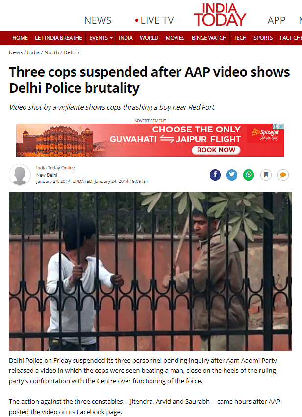 Screenshot of the news article which featured the pictures from the video.