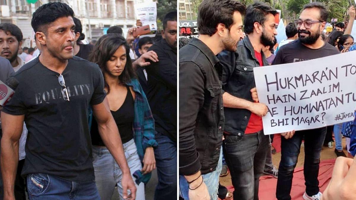 Farhan Akhtar, Anurag Kashyap attend the Anti-Citizenship Amendment Act protest in Mumbai.