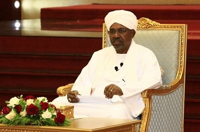 KHARTOUM, April 5, 2019 (Xinhua) -- Sudanese President Omar al-Bashir addresses the Higher Coordinating Committee for Following-up Implementation of the National Dialogue Outcome, in Khartoum, Sudan, April 5, 2019. Sudanese President Omar al-Bashir on Friday said elections is the only means to reach power. (Xinhua/Mohamed Khidi/IANS)