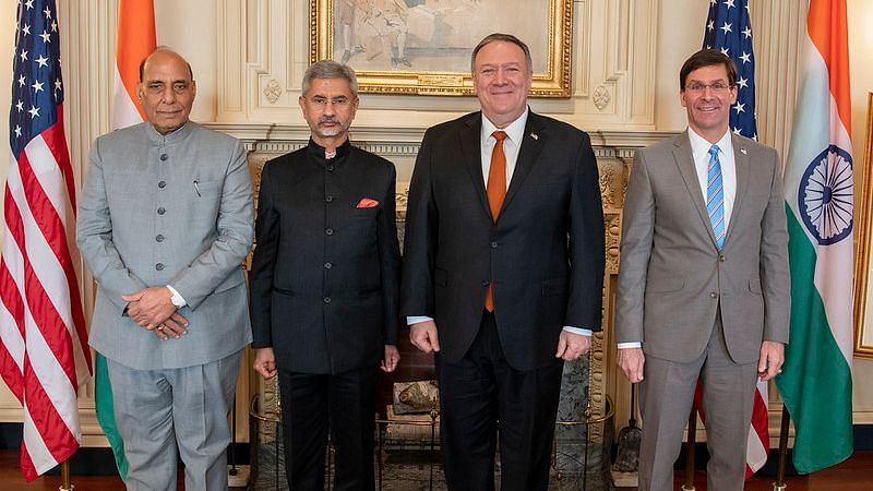 Defence Minister Rajnath Singh, External Affairs Minister Subrahmanyam Jaishankar with United States Secretary of State Mike Pompeo at