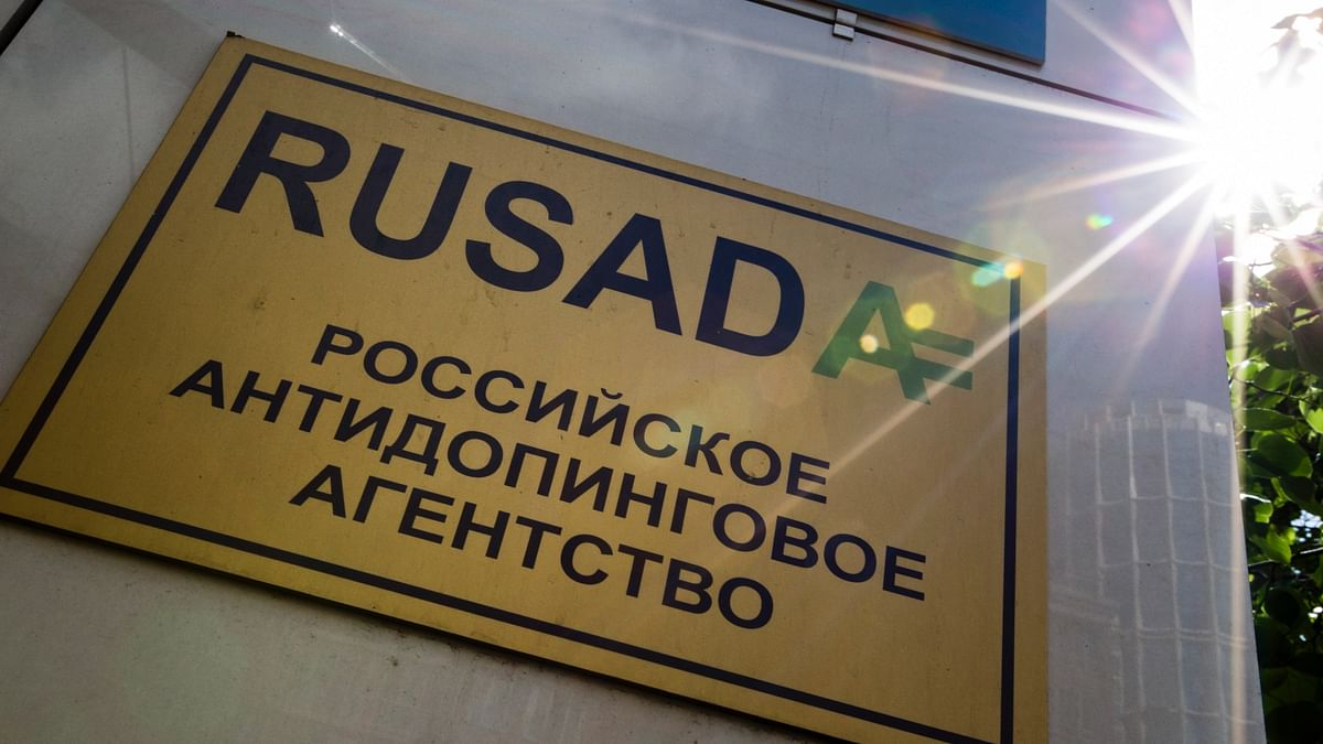"""This May 24, 2016 file photo shows a RUSADA sign that reads: """"Russian National Anti-doping Agency"""" on a building in Moscow, Russia."""