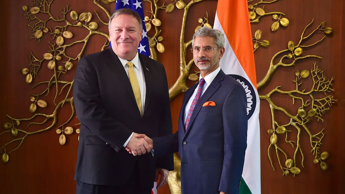 External Affairs Minister S Jaishankar shakes hand with US Secretary of State Mike Pompeo