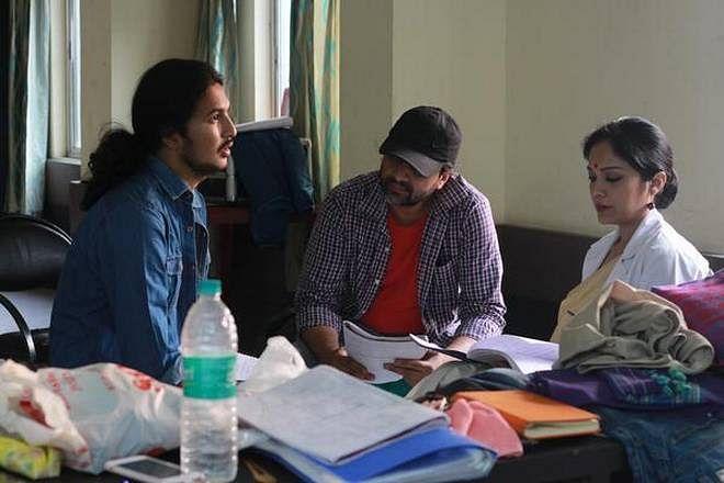 Bhaskar Hazarika on the sets of <i>Aamis.</i>