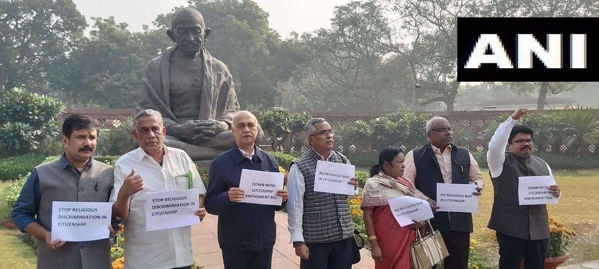 Left Parties protest against Citizenship Amendment Bill in Parliament.