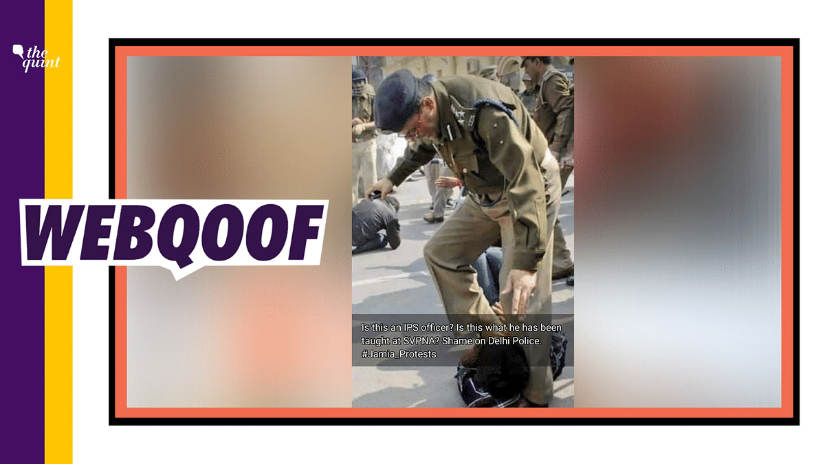 An image of a cop trampling a protester with his boots is being circulated on social media with a claim that it is from Jamia.