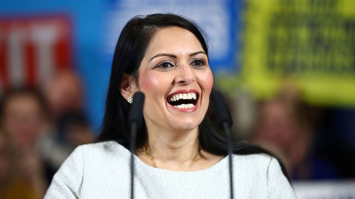 Britain's Home Secretary Priti Patel during a rally event as part of the General Election campaign, in Colchester, England on Monday, Dec. 2, 2019.