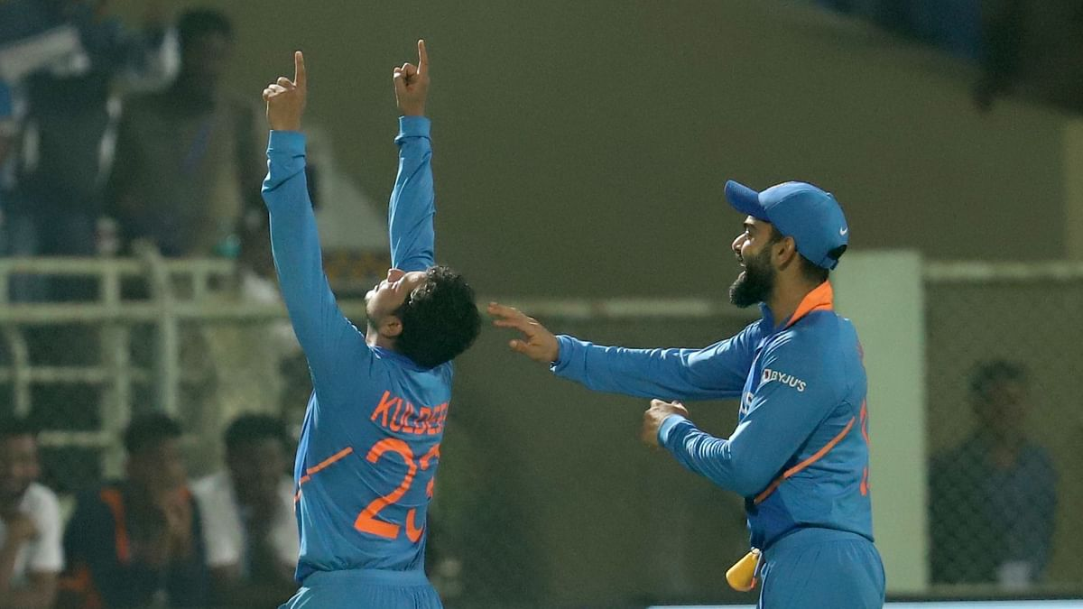 Kuldeep Yadav of India celebrates the hat trick wicket of Alzarri Joseph of West Indies during the 2nd ODI between India and the West Indies held at the ACA-VDCA Stadium, Visakhapatnam on the 18th December 2019.