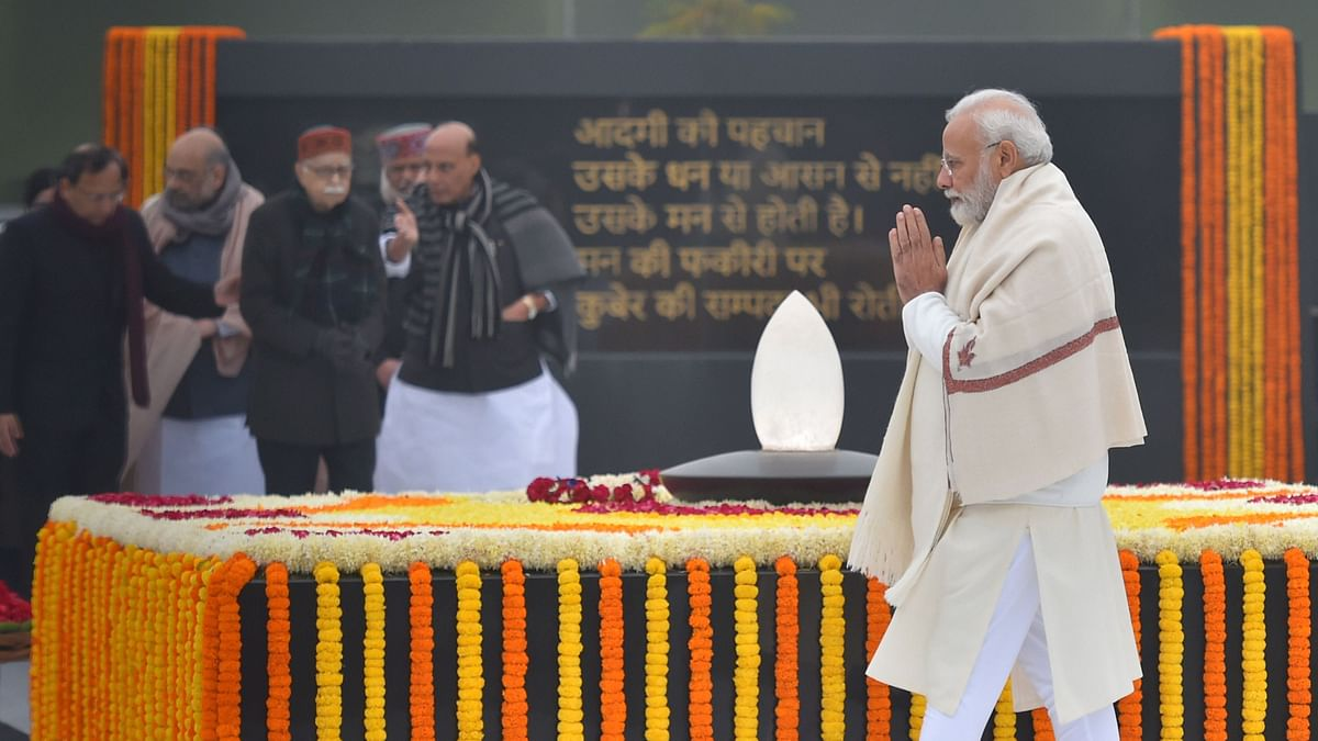 Prime Minister Narendra Modi pays tributes to former prime minister A B Vajpayee on his 95th birth anniversary.