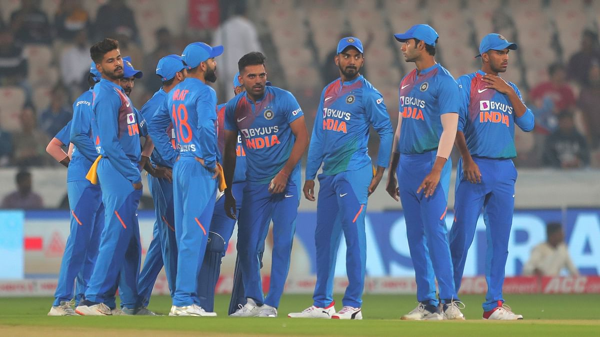 Deepak Chahar (fourth from right) has picked up 17 wickets in 10 T20Is so far.