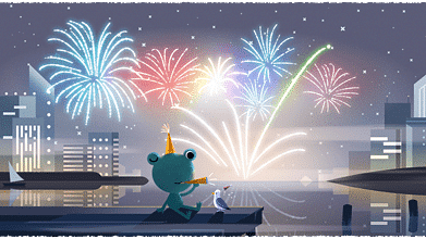 New Year's Eve 2019 Google Doodle ft Froggy, the Weather Frog