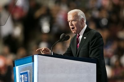 PHILADELPHIA, July 28, 2016 (Xinhua) -- U.S. Vice President Joe Biden addresses the 2016 U.S. Democratic National Convention at Wells Fargo Center, Philadelphia, Pennsylvania, the United States on July 27, 2016. (Xinhua/Li Muzi/IANS)