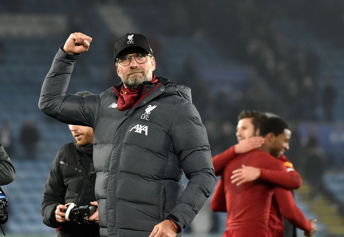 Liverpool's manager Jurgen Klopp reacts at the end of the English Premier League soccer match between Leicester City and Liverpool at the King Power Stadium in Leicester, England, Thursday, Dec. 26, 2019.