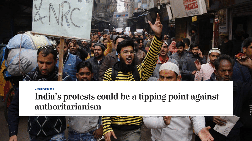 Protesters march against the controversialCitizenship Amendment Act in New Delhi.