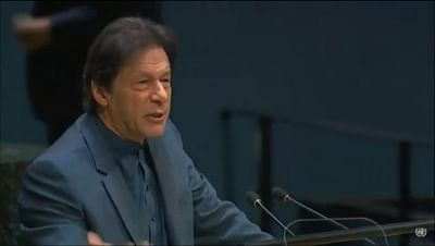 United Nations: Pakistan Prime Minister Imran Khan addresses at the 74th United Nations General Assembly (UNGA), at United Nations on Sep 27, 2019. (Photo: IANS)