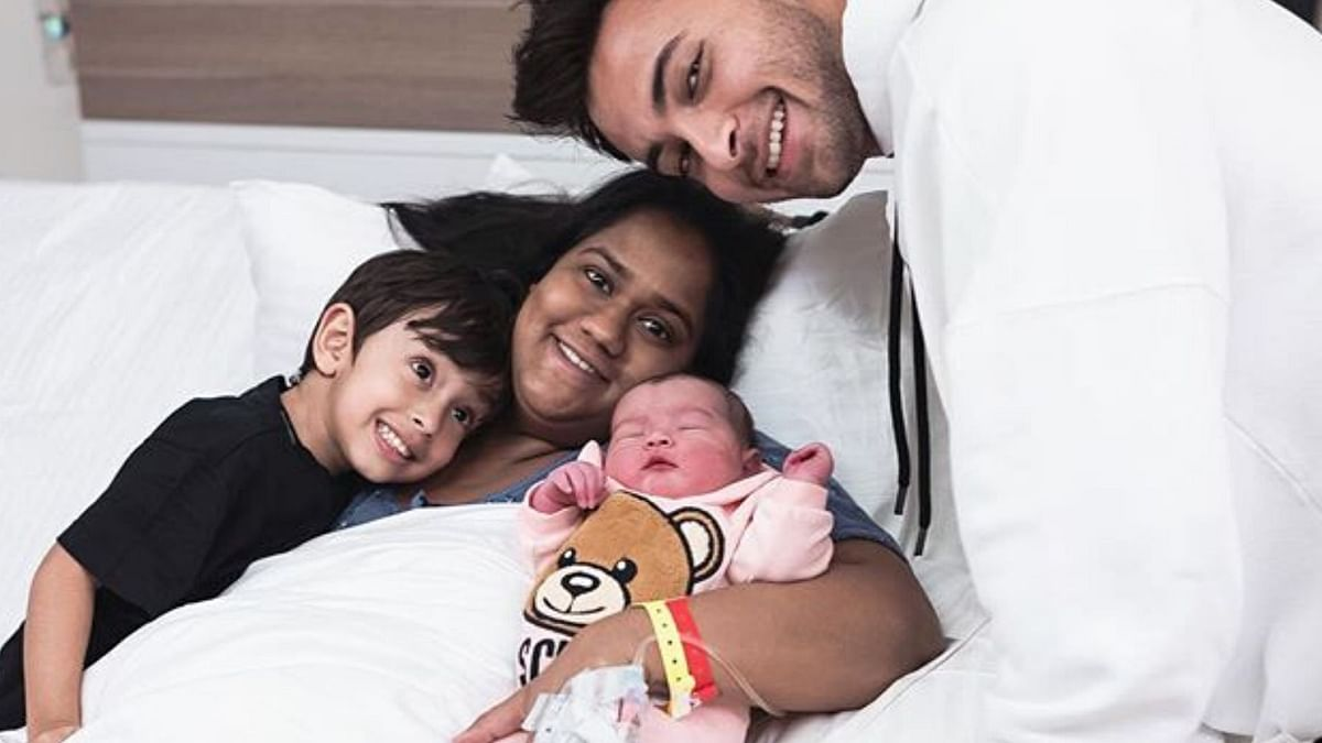 Arpita Khan and Aayush Sharma with their newborn Ayat and son Ahil.