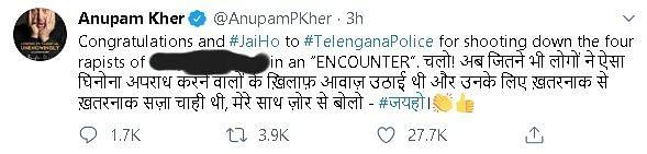 Rishi Kapoor, Nagarjuna, Others React to Telangana Cop Encounter
