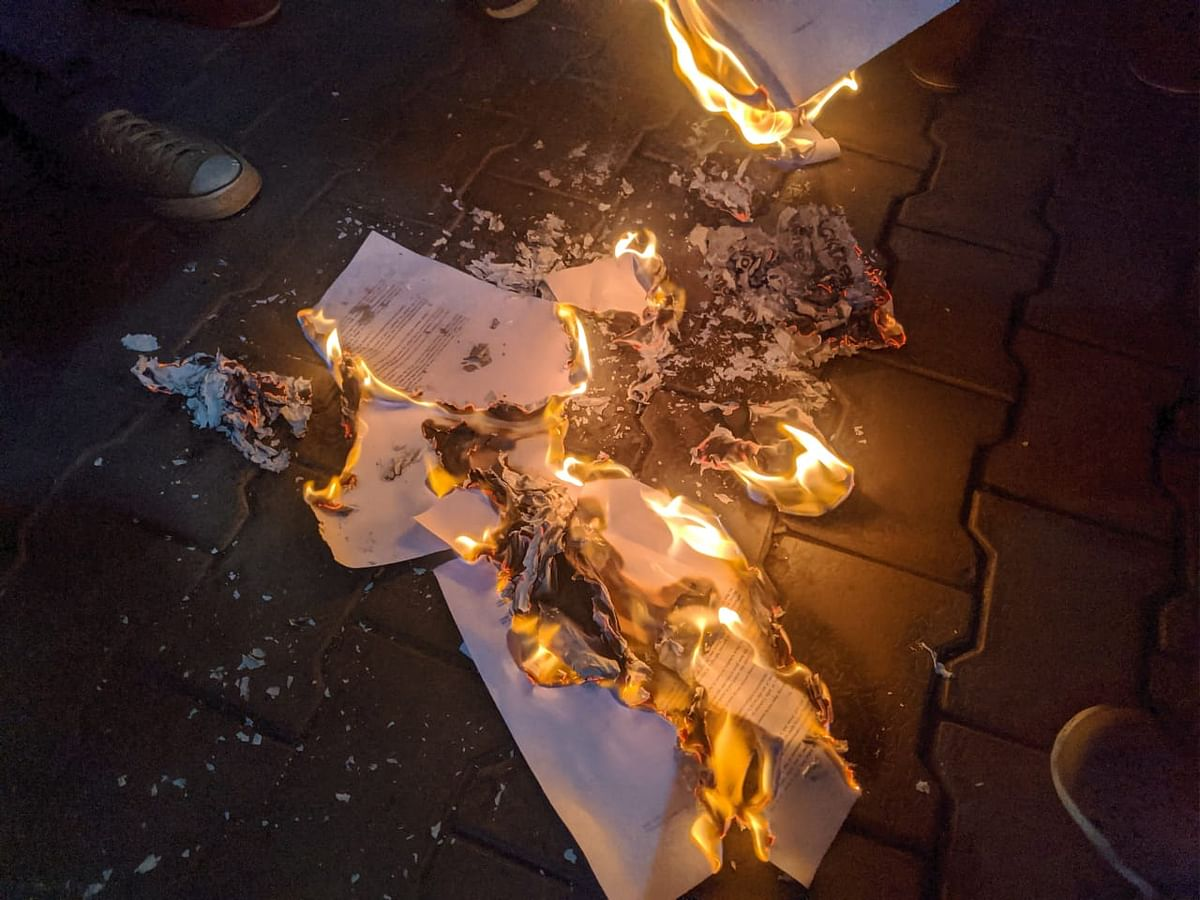 Burnt copies of Citizenship Amendment Bill.