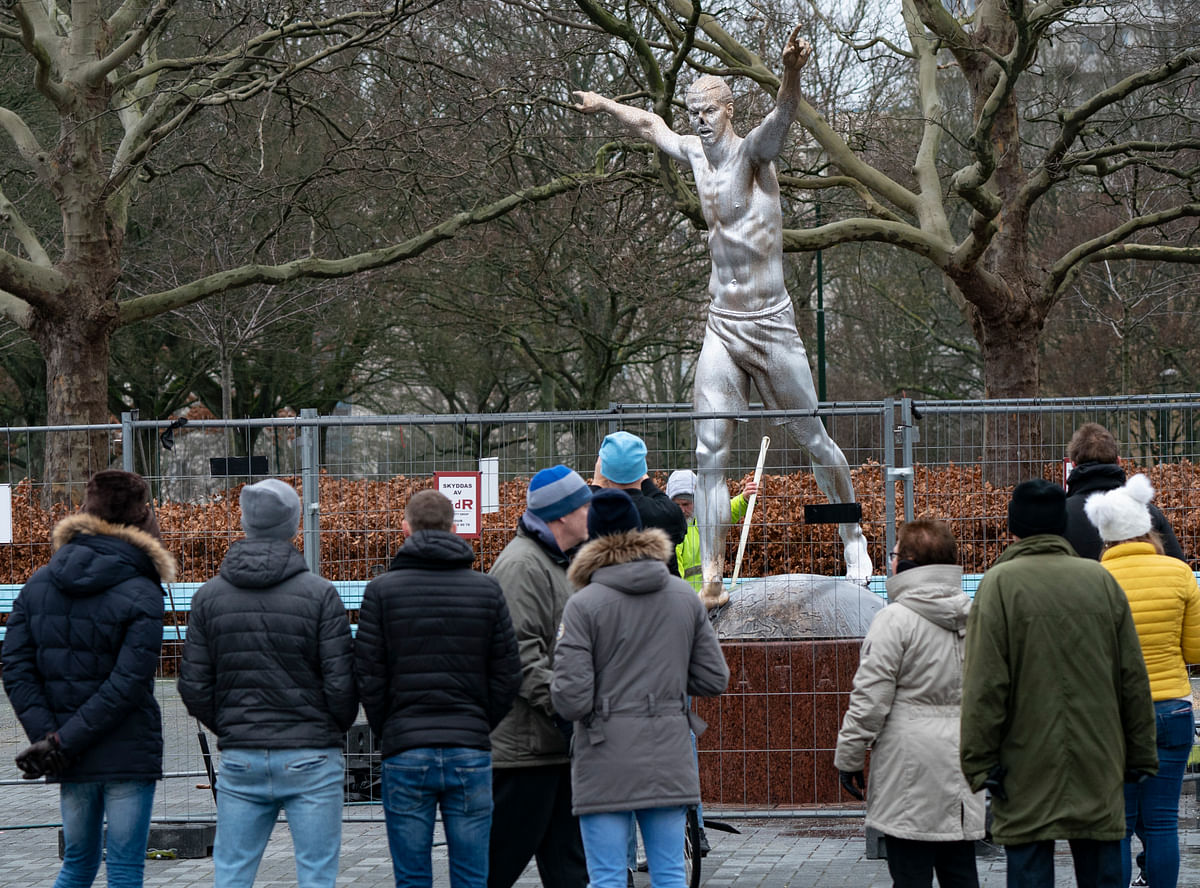 In this photo taken on Sunday, Dec. 22, 2019, the defaced statue of Zlatan Ibrahimovic is seen in Malmo, Sweden.