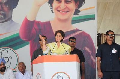 Bhatinda: Congress leader Priyanka Gandhi Vadra addresses during a party rally in Bhatinda, Punjab on May 14, 2019. (Photo: IANS)