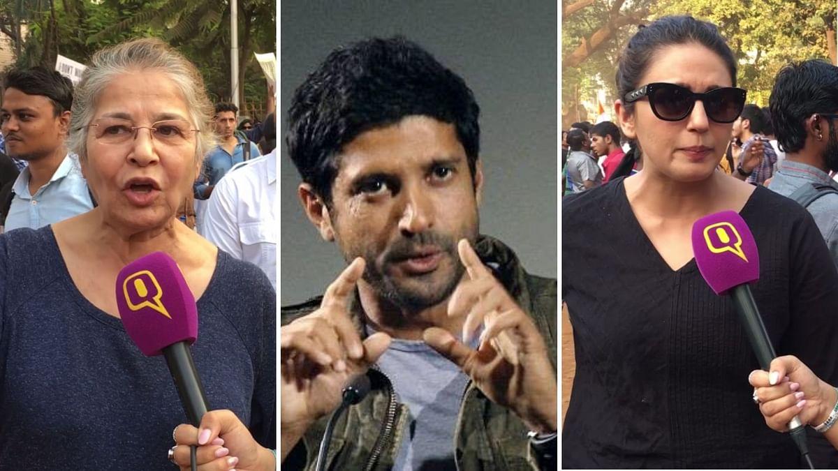 Farhan, Huma Qureshi, Suhasini Mulay at Mumbai's Anti-CAA Protests