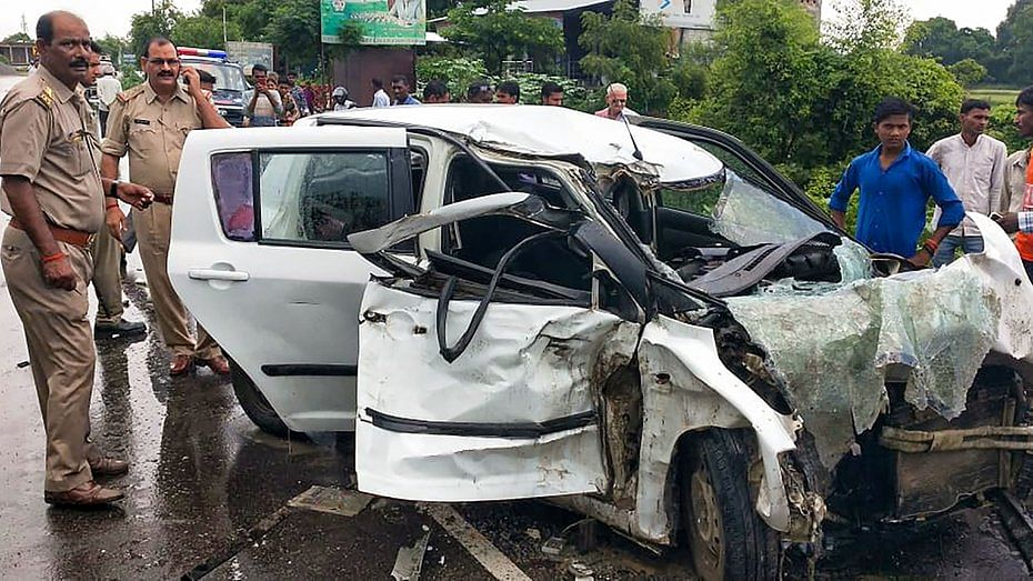 This is how Mahendra's car looked after a horrific head-on collision with a truck close to Raebareli on 28 July 2019.