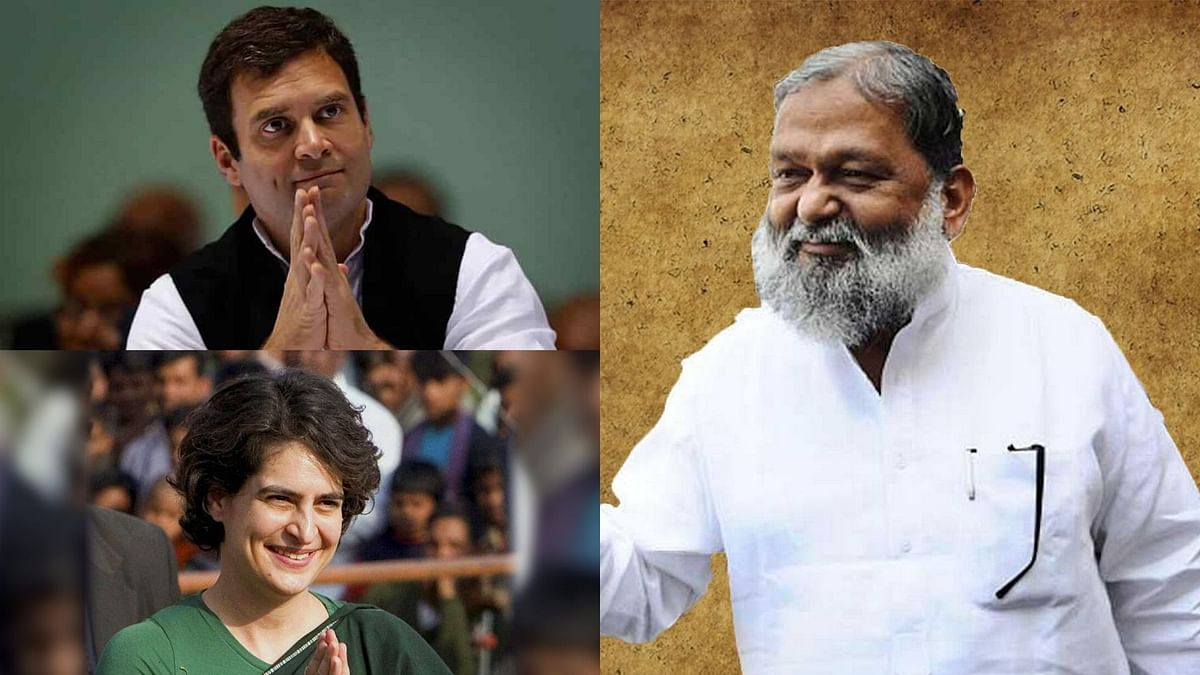 "Home Minister Anil Vij dubbed Rahul and Priyanka as ""live petrol bombs""."