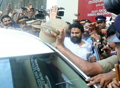 Aluva: Malayali actor Dileep, arrested for alleged involvement in the kidnapping of an actress, comes out of Aluva sub-jail after being granted bail by the Kerala High Court on 3 October 2017. The actor left Aluva sub-jail to loud cheers from hundreds of his fans.