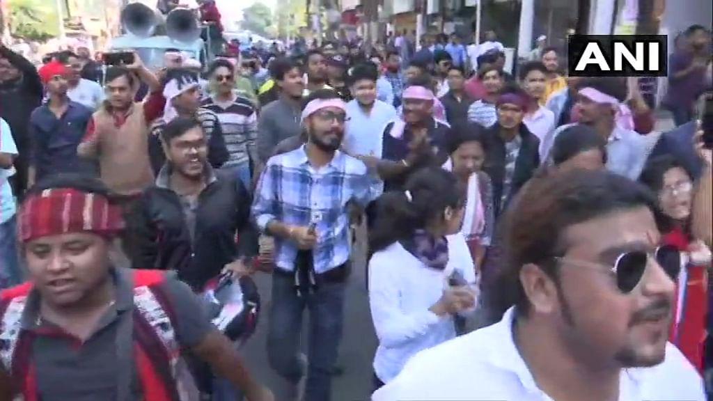 Protests against Citizenship Amendment Bill in Guwahati, Assam.