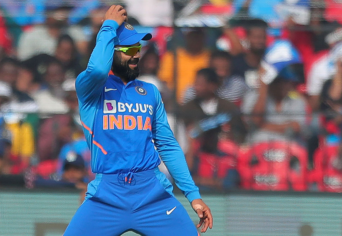 Virat Kohli celebrates a wicket during the third ODI vs West Indies on Sunday in Cuttack.
