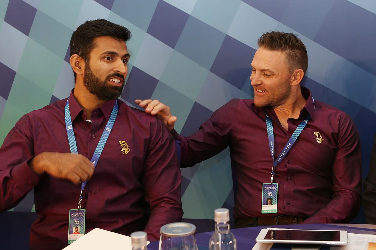 KKR coach Brendon McCullum during the Vivo Indian Premier League (IPL) Player Auction ahead of the 2020 season held at the ITCRoyal Bengal , Kolkata on the 19th December 2019
