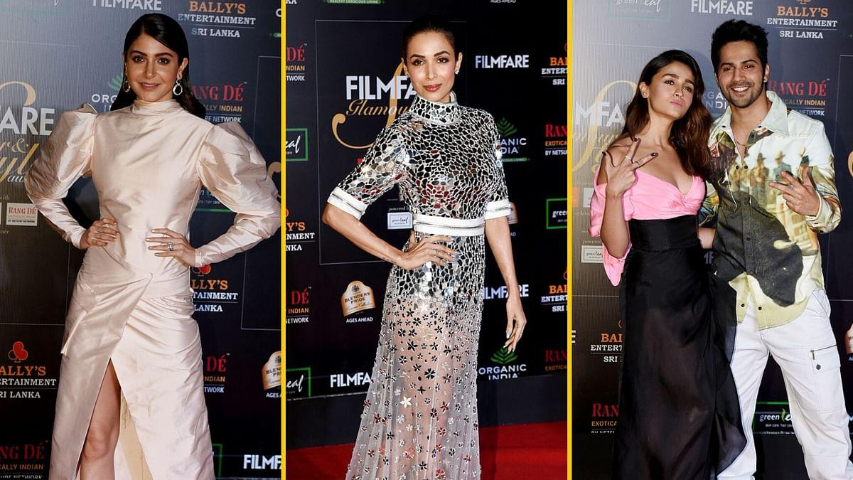 Anushka Sharma, Malaika Arora, Alia Bhatt and Varun Dhawan at Filmfare Glamour and Style Awards.