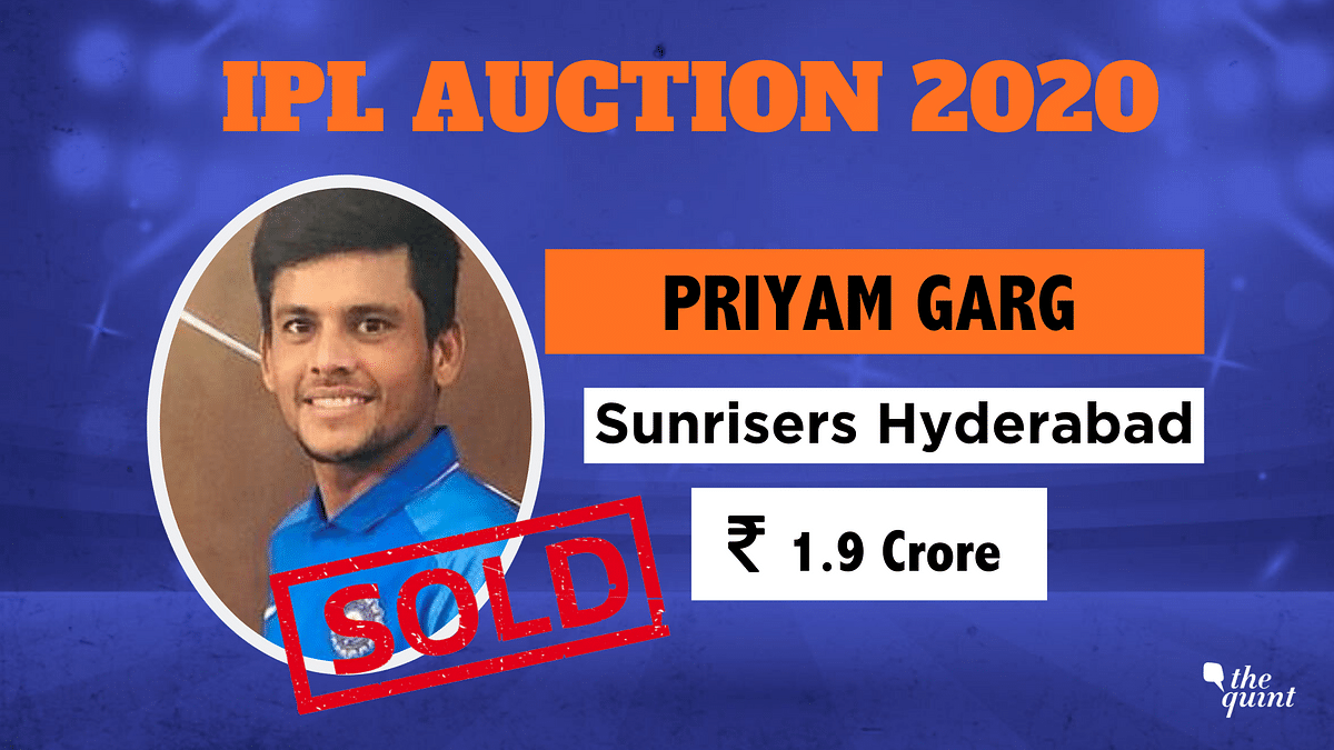 IPL Auction 2020: U-19 Captain Priyam Garg Sold to Sunrisers