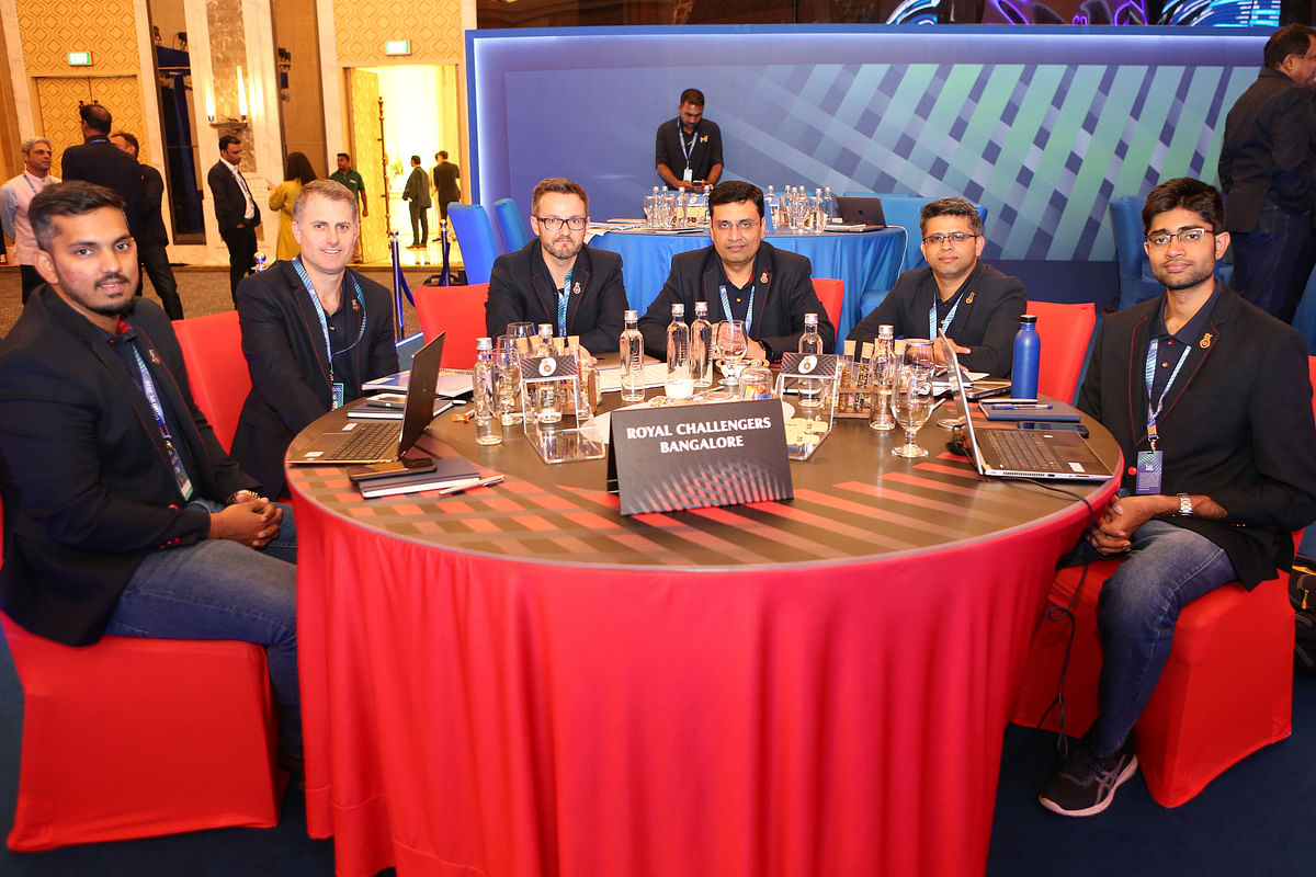 RCB during the Vivo Indian Premier League (IPL) Player Auction ahead of the 2020 season held at the ITCRoyal Bengal , Kolkata on the 19th December 2019