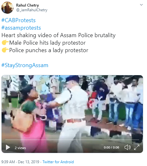 Old J'khand Video Shared as Cops Beating CAB Protesters in Assam