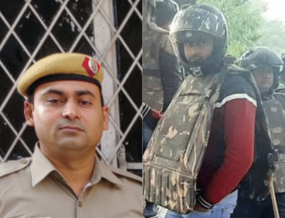 On the left, a photo of Arvind Kumar provided by the Delhi Police.
