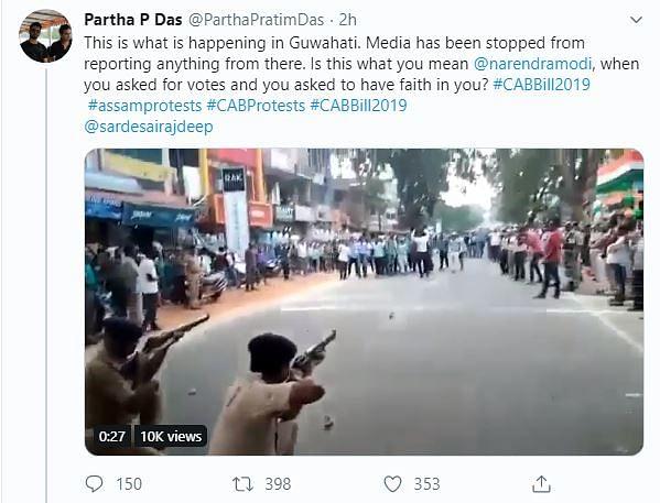 Screenshot of the claim on Twitter.