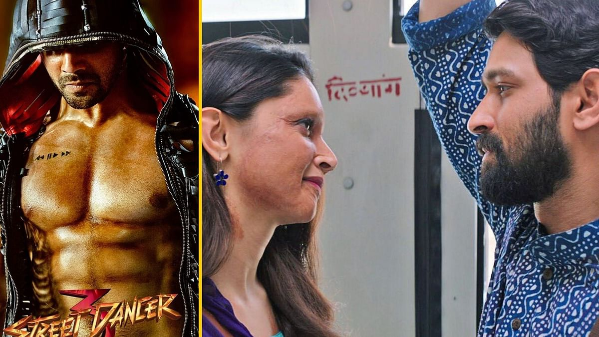 Varun Dhawan in a poster for <i>Street Dancer 3D</i>; Deepika Padukone and Vikrant Massey in a still from <i>Chhapaak</i>.